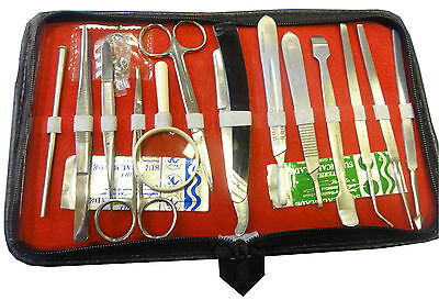 Basic Dissection Kit for Students Lab Kit 14 instruments + 2 blades Surgical Vet