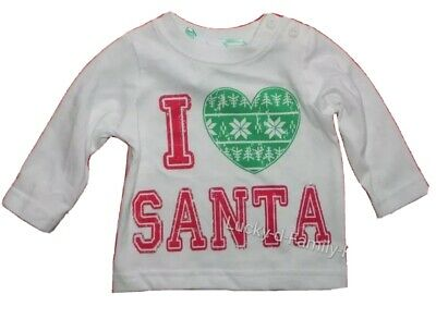 M&Co baby girl I Love Santa Cream top Red Green Christmas heart 0-3 6-9 12-18 m
