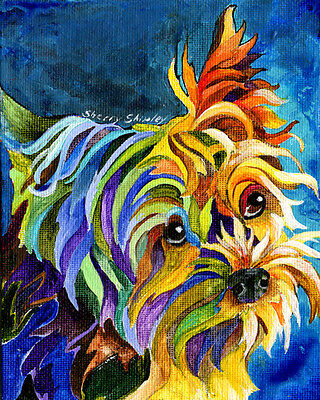 Yorkshire Terrier 8X10 DOG print by Artist Sherry Shipley