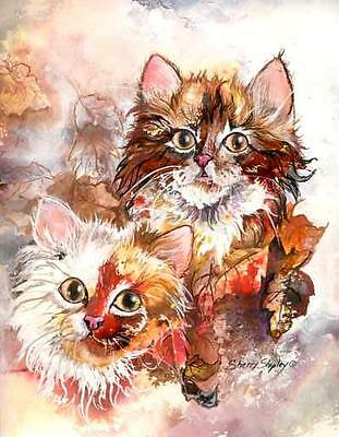 CALICO LEAVES 8x10  CAT Art Print by Sherry Shipley