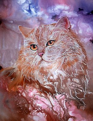 CARAMEL AND CREAM 8x10  CAT Art Print by Sherry Shipley