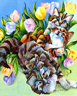 GARDEN PARTY 8x10  CAT Art Print by Sherry Shipley