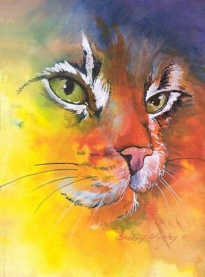 GLOW CAT 8x10  CAT Art Print by Sherry Shipley