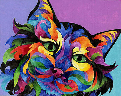 MARDI GRAS CAT 8x10 CAT  Art Print by Sherry Shipley