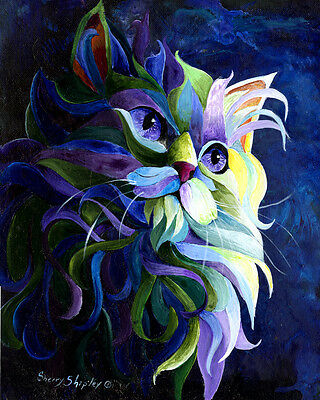 SHADOW PUSS 8x10 CAT Art Print by Sherry Shipley