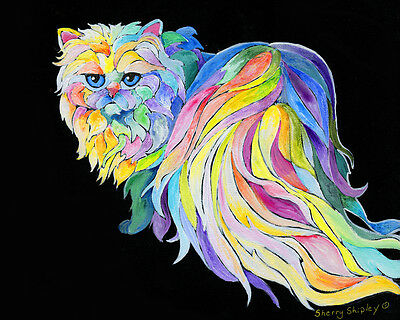 THE DIVA 8x10 PERSIAN CAT Art Print by Sherry Shipley