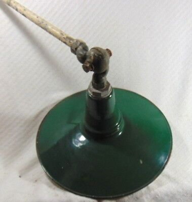 Antique Industrial Green & White Porcelain Enamel Hinged Ceiling Light Fixture