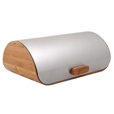 Zuhause - Nordik Bamboo Bread Bin with Brushed Stainless Steel Lid 34x24x14cm