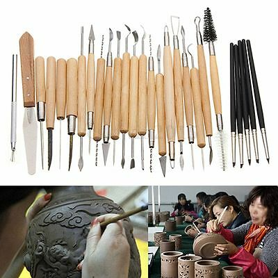 27pcs Silicone Rubber Shapers Clay Sculpting Carving Fimo Modelling Hobby Tools