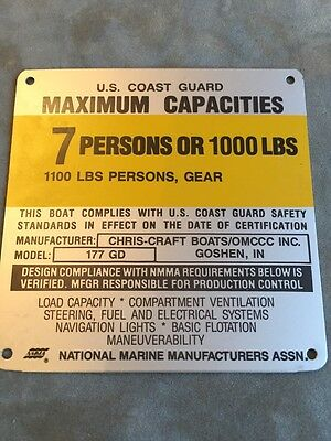 United Marine Corp Boat Capacity Plate~Tag~9 Person~1260 Lbs~Sea Sprite 210