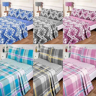 100% Luxury Cotton Thermal Flannelette Sheet Sets With Pillow Cases.
