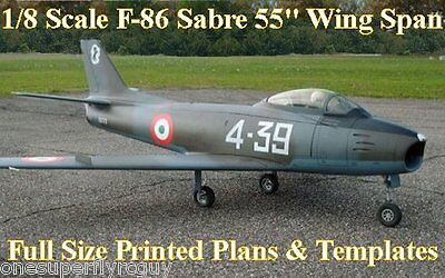 """F-86 Sabre 55""""WS Giant 1/8Scale RC Airplane Full Size PRINTED Plans & Templates"""