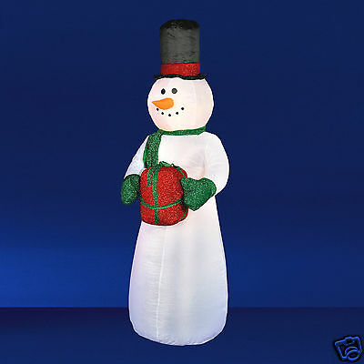 2.4m / 8ft Inflatable Festive Christmas Snowman, LED Lit, Indoor or Outdoor BIG