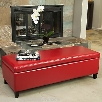 Elegant Sleek Design Red Leather Storage Ottoman Bench & ELEGANT SLEEK DESIGN Red Leather Storage Ottoman Bench - $121.59 ...