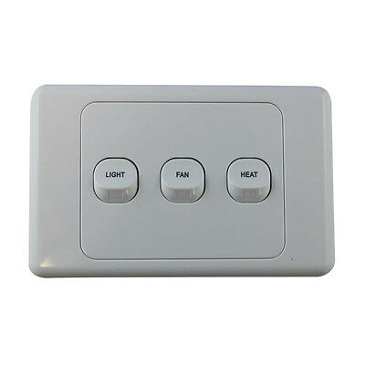 3 Gang Wall Switch - PRINTED WITH FAN LIGHT HEAT - Electrical Light Switch - SAA