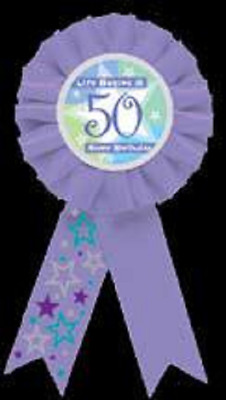Amscan Happy BIRTHDAY BOY Fabric Rosette Award Ribbon Badge Boys 55mm Diameter
