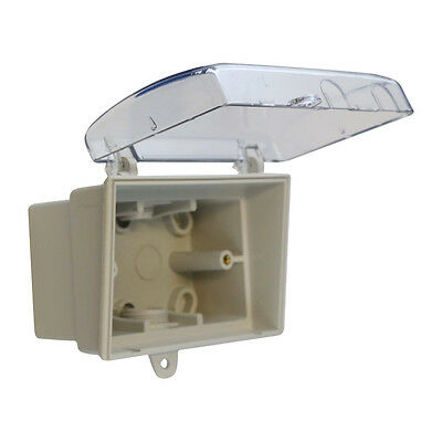 Weatherproof Box Enclosure for Powerpoint and Switch - GPO Socket LOCK clear