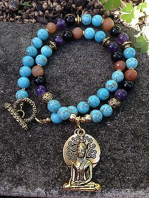 ॐ Crystal Blissॐ Turquoise, Amethyst Necklace Silver or Gold Tree Life & Buddha