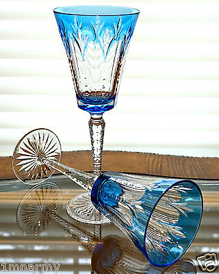 """Pair Faberge Grand Palais Wine Glass Goblets 9-5/8""""h, Lt Blue Cased Crystal"""