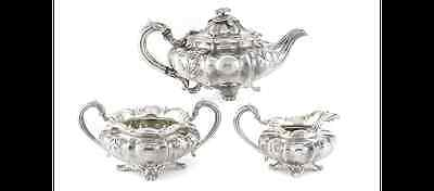 English William IV Sterling Silver 3-Piece Teapot, Sugar Bowl Creamer Circa 1831