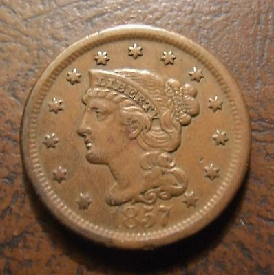 1857 Braided Hair Large Cent, N-1, Large Date