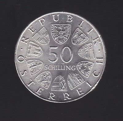1973 Austria 500th Anniversary of Bummerl House 50 Schilling Silver Coin W-660