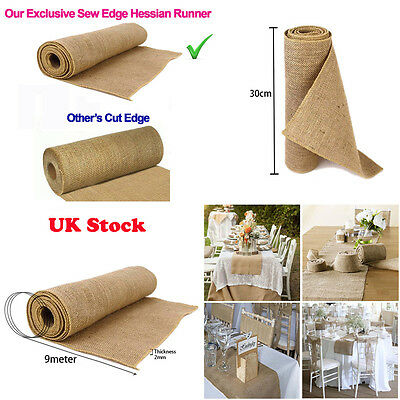 9M Hessian Table Runners Cloth Sew Edge Wedding Decoration Vintage Shabby Chic