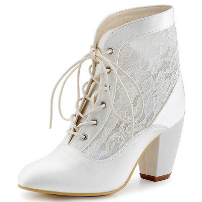 HC1559 Ivory Chunky Heel Pointed Toe Boots Satin Lace Wedding Bridal Party Shoes