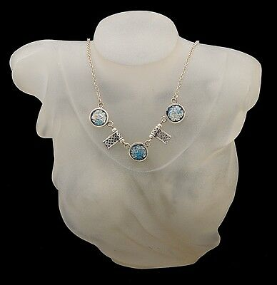 Roman Glass Pendant Necklace Sterling Silver 925 Hand Made With Certificate #4