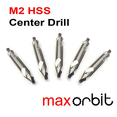 5 PC 2mm HSS Center Drill Bits, M2 High Speed Steel, HRC 62, 60° Countersink