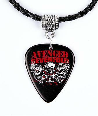 Avenged Sevenfold A7X Necklace Guitar Pick Plectrum Black Twist Cord