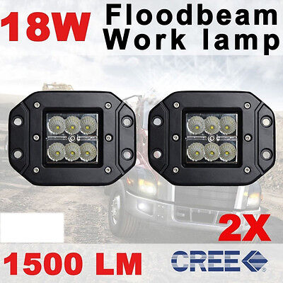 2x 18W 4INCH FLOOD FLUSH MOUNT CREE 3X3 PODS WORK LIGHT OFFROAD BOAT ATV REVERSE