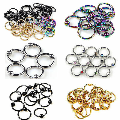10pcs Stainless Steel Captive Bead Hoop Ring Nose Ball Body Piercing Jewellery A