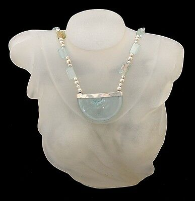 Roman Glass Pendant Necklace Sterling Silver 925 Hand Made With Certificate #8