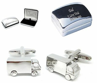 Metal Lorry Truck Cufflinks +Engraved Chrome Case  Personalised