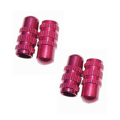 4 x Schrader Small Size Red Tyre Tire Wheel Dust Valve Caps Car Bike Cycle