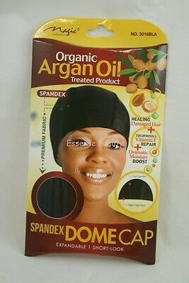 DOME CAP Spandex ARGAN OIL Organic Treated Product Wide Band BLACK