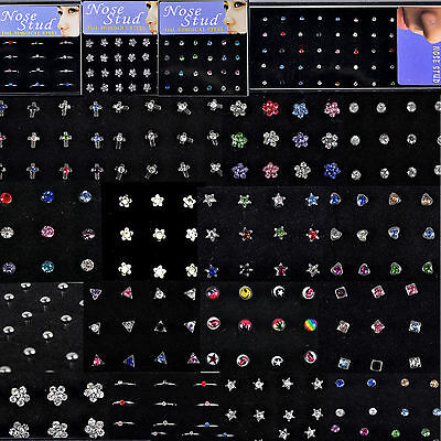 Wholesale Body Jewelry Mix Lots Pierce Nose Studs Piercing+Display 26 Styles Fab