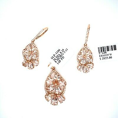 Most Appealing Morganite Diamond Set Of Pendant And Earring In 14K Rose Gold