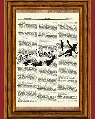 Peter Pan Dictionary Art Print Poster Picture Book Disney Quote Never Grow Up