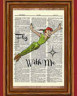 Peter Pan Dictionary Art Print Poster Picture Book Disney Quote Fly With Me