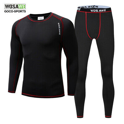 Mens Winter Compression Fleece Thermal Baselayer Underwear Shirts Pants Leggings