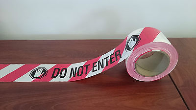 "Red/White ""DO NOT ENTER"" Barrier Tape 75mm x 100m, Carton of 16"