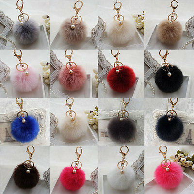 Cell Phone Car Faux Rabbit Fur Ball Keychain Pendant Handbag Charm Keyring Pom