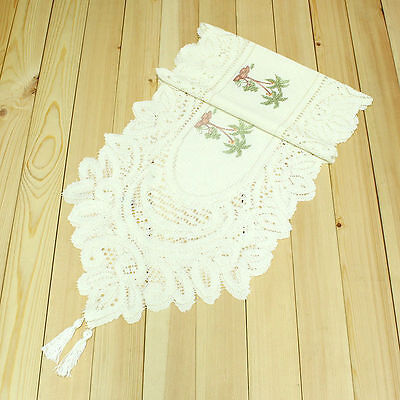 """71""""x13"""" Palm Tree Embroidered Lace Table Runner Cloth Wedding Decoration Zendoo"""