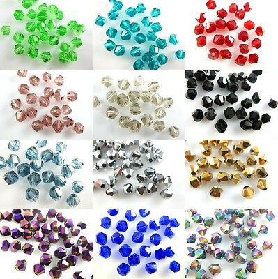 Pretty 200Pcs Glass Crystal Faceted Bicone Beads 4mm Loose Spacer Findings