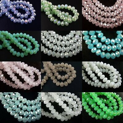 Pretty 100pcs Faceted Glass Rondelle Beads Jewelry Findings 6mm Jade Color AB
