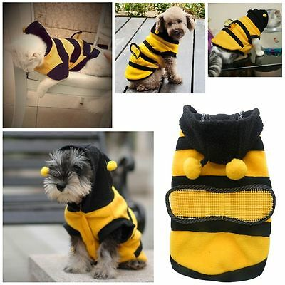 Pet Dog Cat Warm Clothes Jumpsuit Puppy Winter Hoodie Dress UP Costume Bee Style