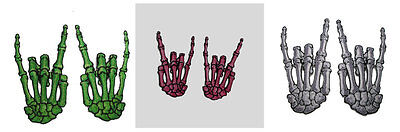 Skelli Hand Devil Bone Iron On Patches (Pair) NEW. Choice of 3 Colours