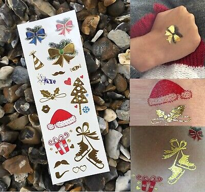 Metallic Flash Tattoos, Christmas, Gold, Winter, Temporary, Body Art, Quality